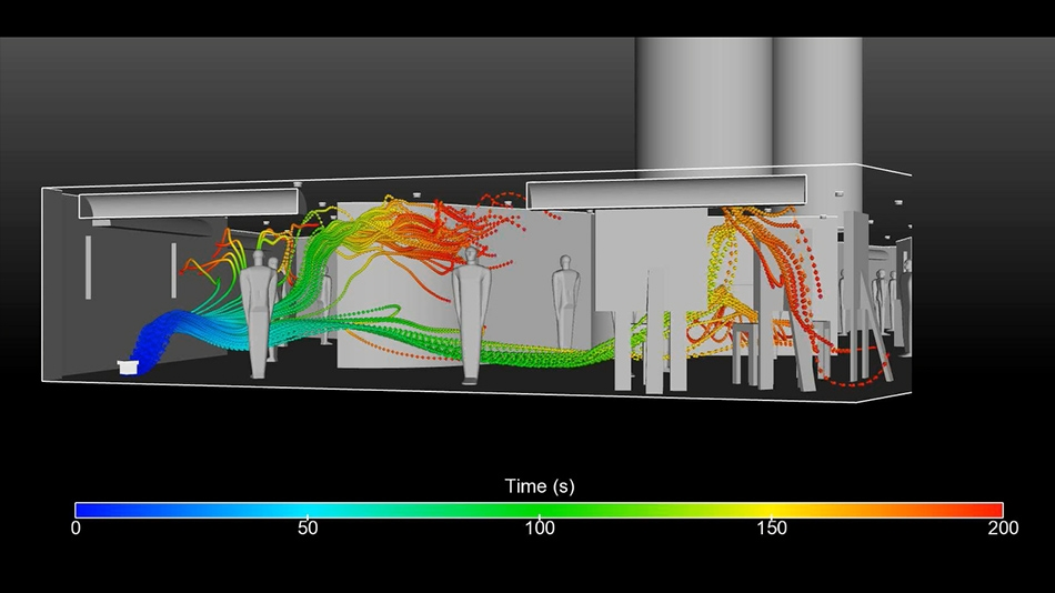 CFD image of natural ventilation and stack effect