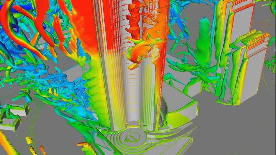 CFD image of wind loads and cladding pressures